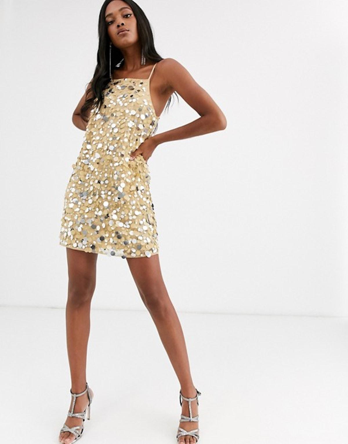 ASOS Design Mini Cami Dress in Disc Sequin