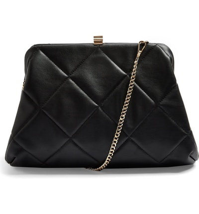 Topshop Quilted Faux Leather Clutch