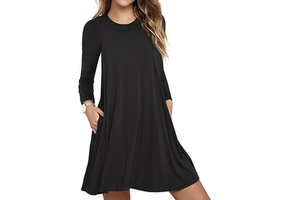 Long-Sleeve Loose T-Shirt Dress