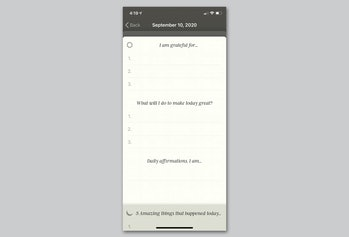 5 Minute Journal app encourages positive thinking.