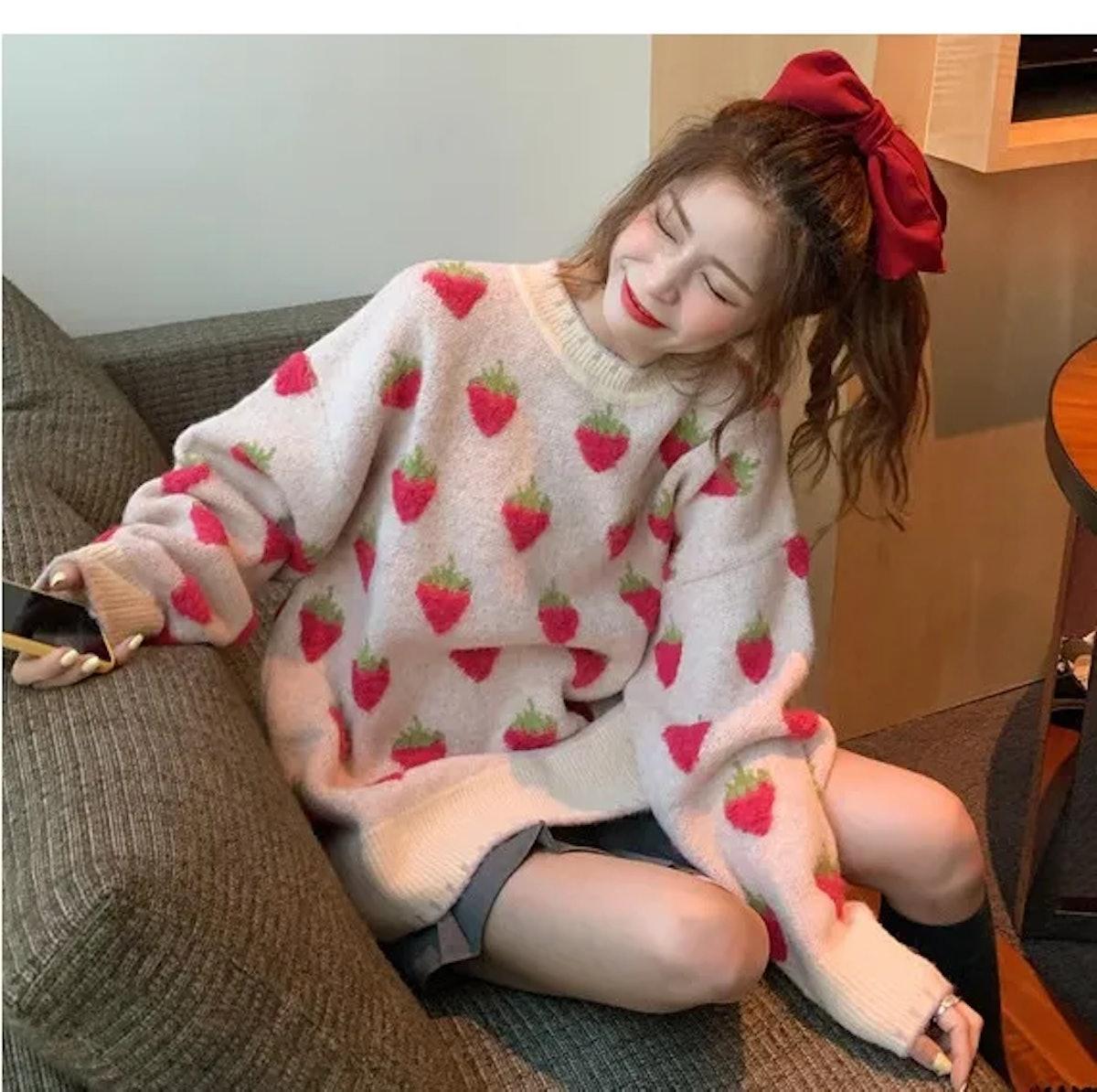 Whoosh Motif Knit Sweater