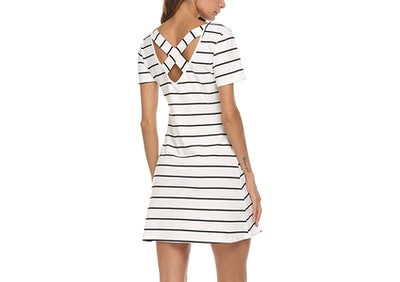 Feager Striped Crisscross Dress