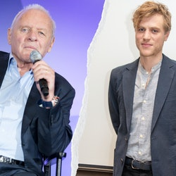 A side by side of Anthony Hopkins with a microphone wearing a suit and johnny flynn wearing a suit, stood against a white backdrop