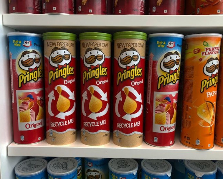 New Pringles can is made out of 90% paper to be more eco-friendly.