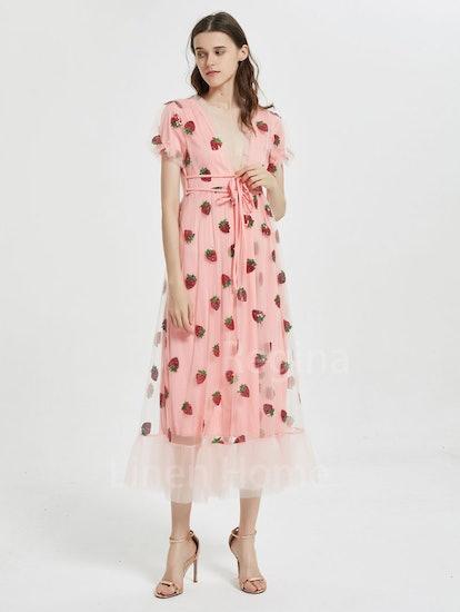 LinenHomeCN Sweet Strawberry Tulle Dress,