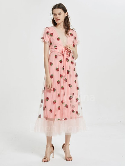 LinenHomeCN Sweet Strawberry Tulle Dress,