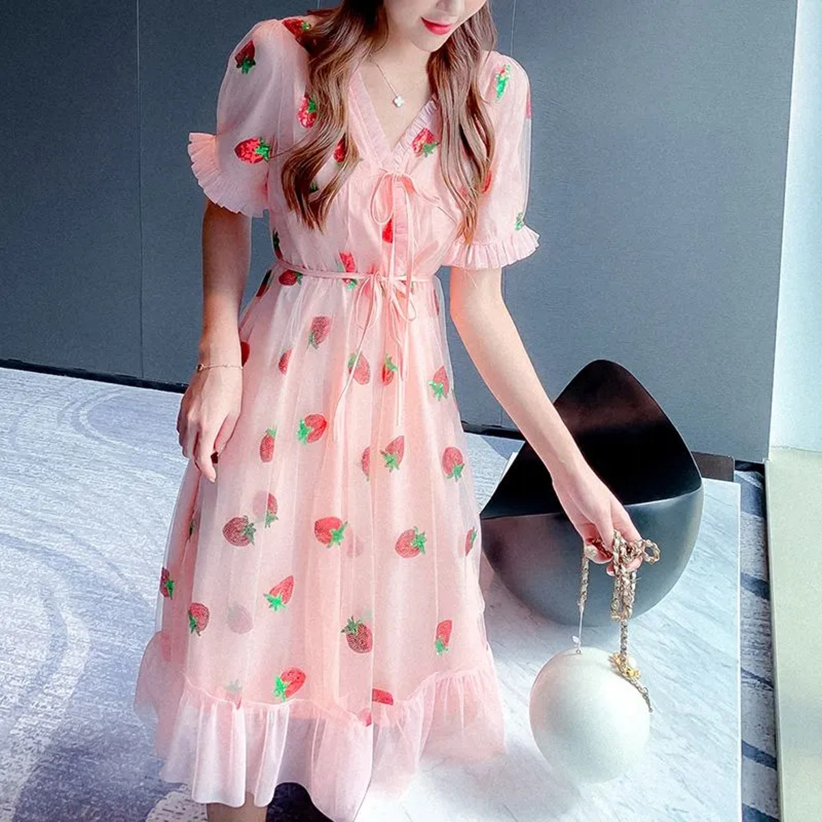 MePanda V-Neck Ruffle Trim Strawberry Printed Mesh Dress