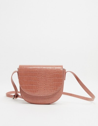 Truffle Collection Faux Leather Croc Embossed Halfmoon Cross Body