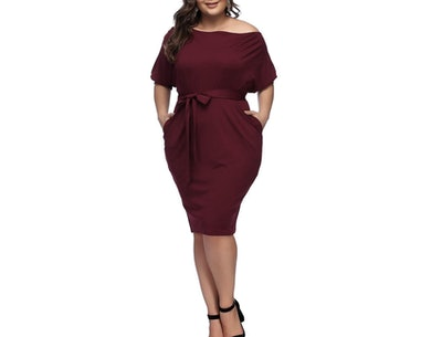 HOOYON Off-The-Shoulder Bodycon Dress