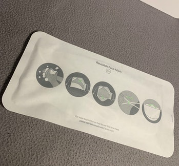 Apple's specially-designed face mask is packaged like any of its other products.