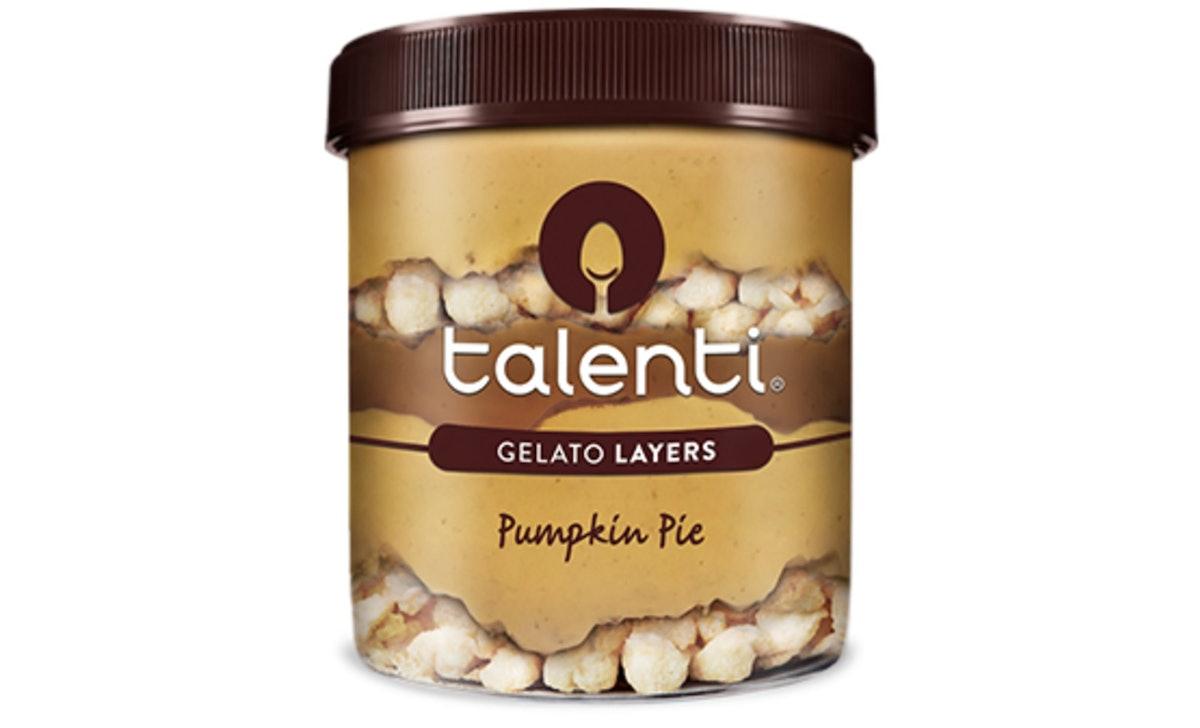 Talenti's new Pumpkin Pie Gelato includes pie crust pieces.