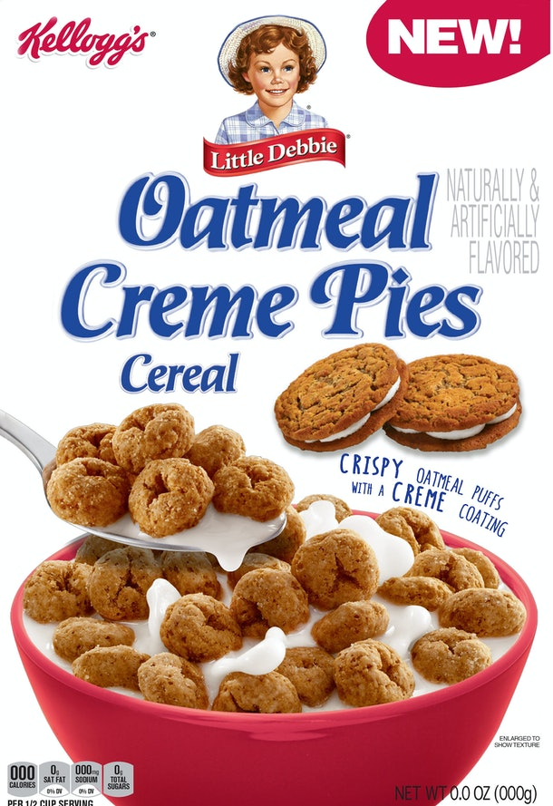 Kellogg's is releasing a Little Debbie Oatmeal Creme Pie Cereal.