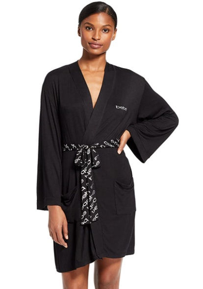 bebe Long Sleeve Belted Bathrobe with Pockets