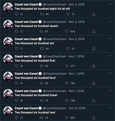 Screenshot of The Count's tweets.