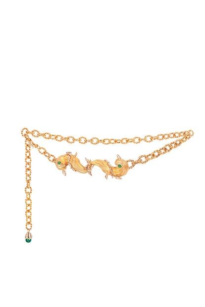 Pisces Embellished Gold-Tone Chain Belt