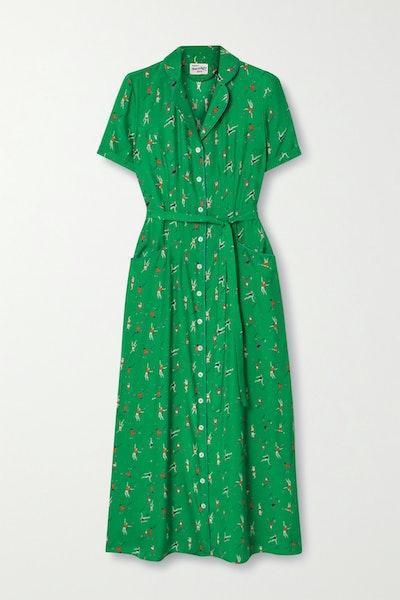 HVN Maria Belted Printed Silk Crepe de Chine Midi Dress