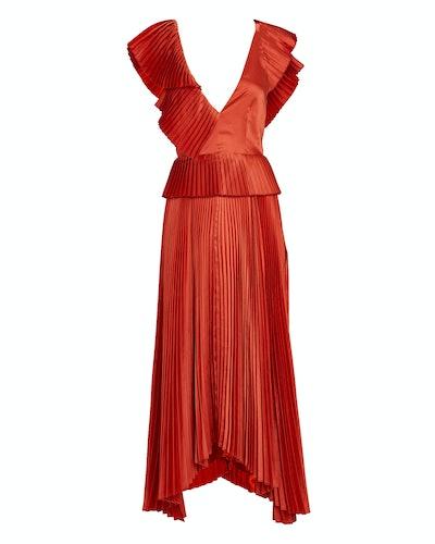 Liliana Pleated Flutter Midi Dress