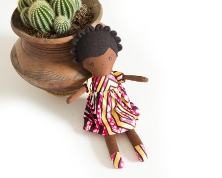 oonaloo Handmade Black Rag Doll in Gift Box