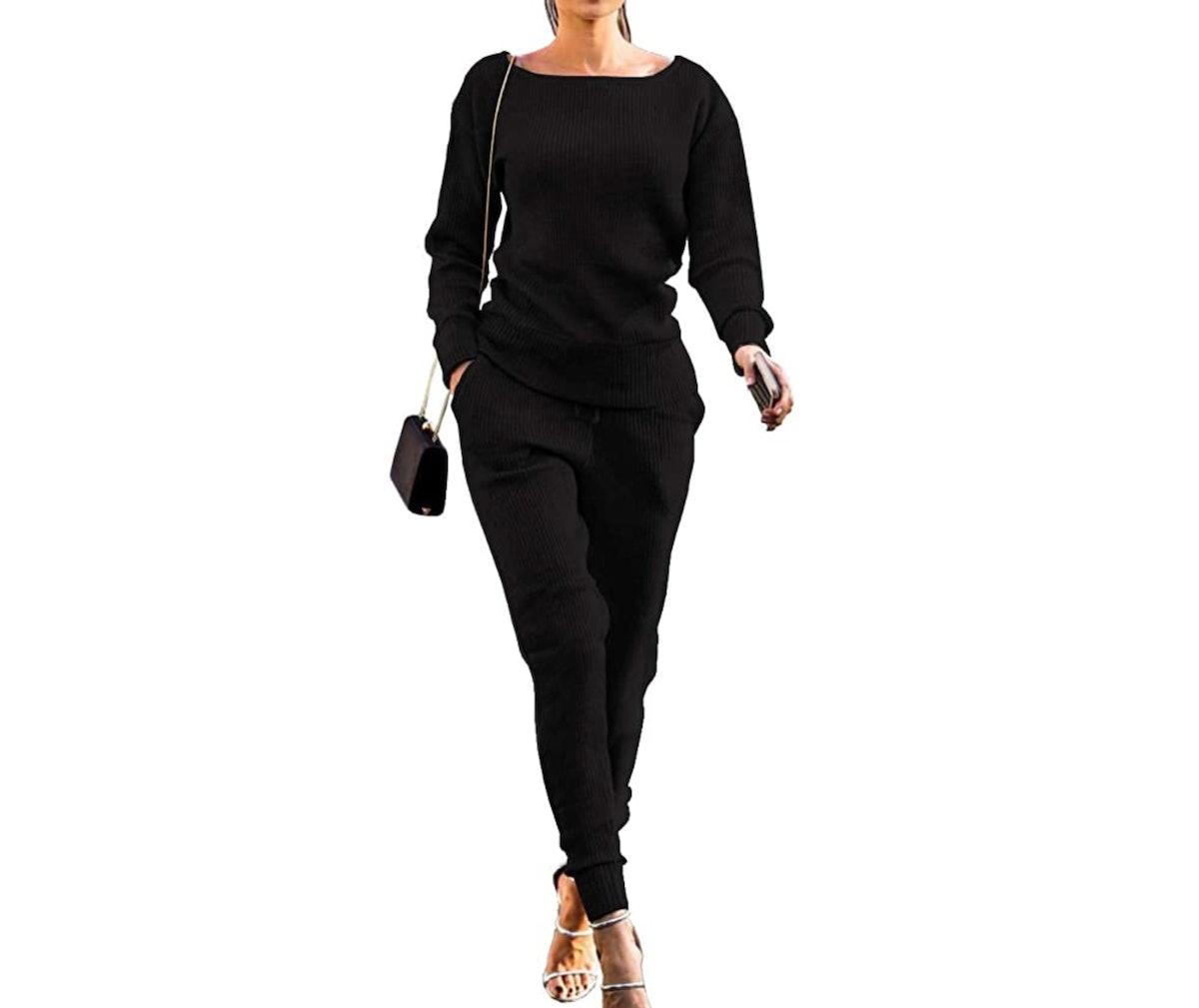 VNVNE Womens Fall Rib-Knit Pullover Sweater