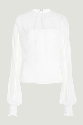 White Long Sleeve Top with Chiffon Overlay