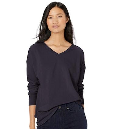 Goodthreads Women's Relaxed Fit Modal Fleece V-Neck Drop Shoulder Sweatshirt