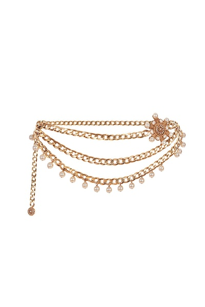 Valeria Gold-Plated Chain Belt with Blue Crystals