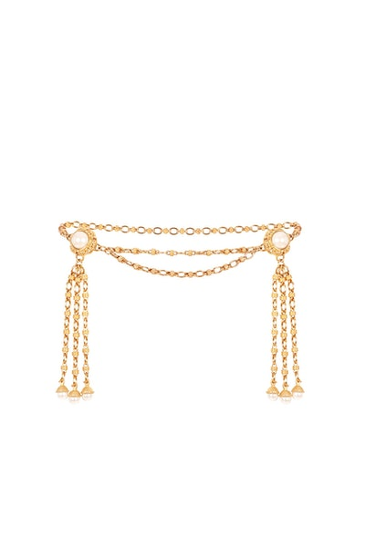 Faustina Double Pearl Tassel Embellished Chain Belt