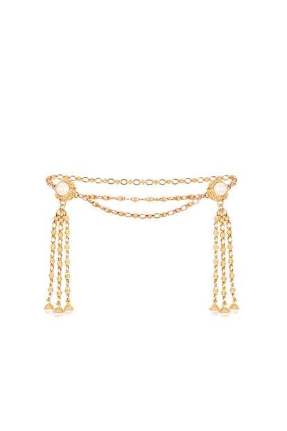 Faustina Double Pearl Tassel Embellished Chain Belt