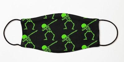 Dabbing Skeleton Green Kids Mask