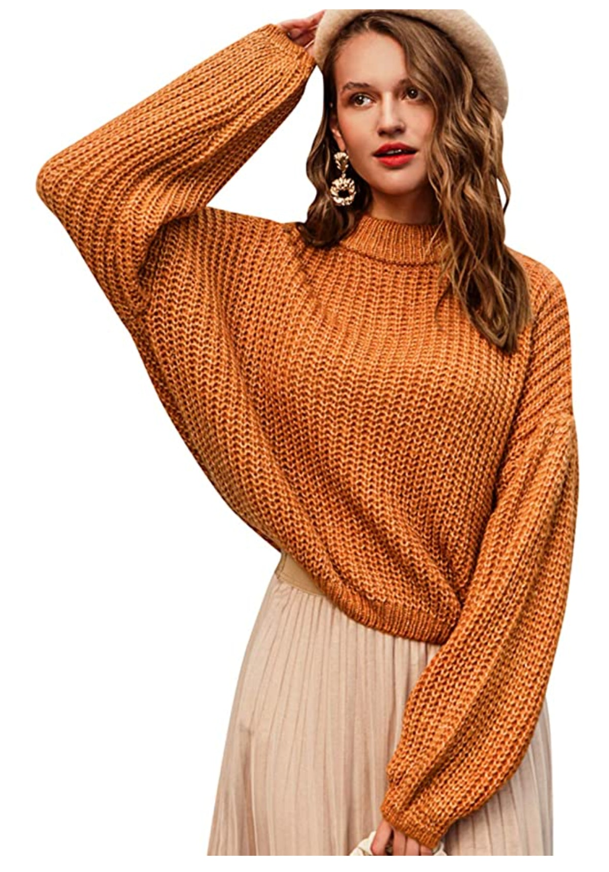 Simplee Oversized Cropped Pullover Sweater