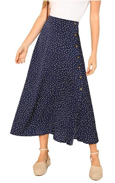 SheIn Polka Dot A-Line Midi Skirt