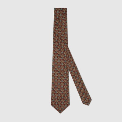 GG Diamond Print Viscose Tie