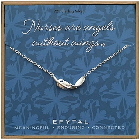Sterling Silver Feather Necklace for Nurses