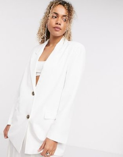 'Perfect' Oversized Dad Blazer In Ivory