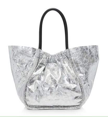 Ruched Large Metallic Tote