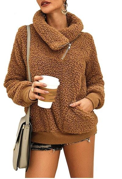 KIRUNDO Winter Lapel Sweatshirt