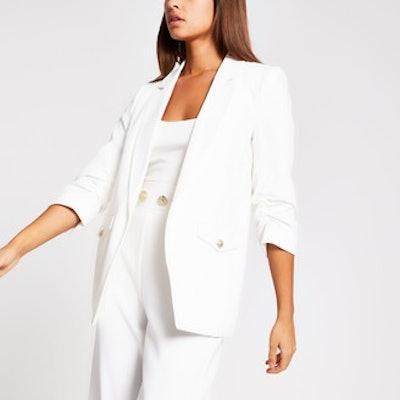 White Pocket Blazer Detail