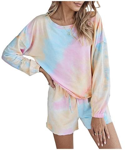 PRETTYGARDEN Tie Dye Printed Pajamas