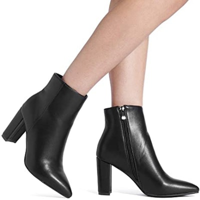 DREAM PAIRS Chunky High Heel Ankle Booties