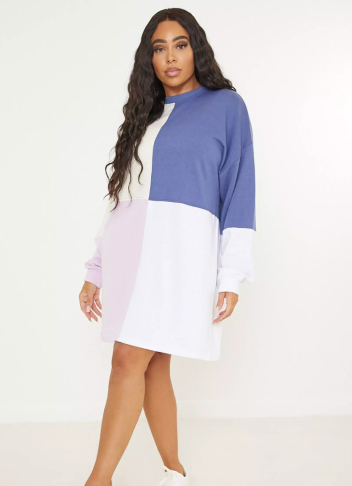 Missguided Plus Size Lilac Colourblock Oversized Sweatshirt Dress