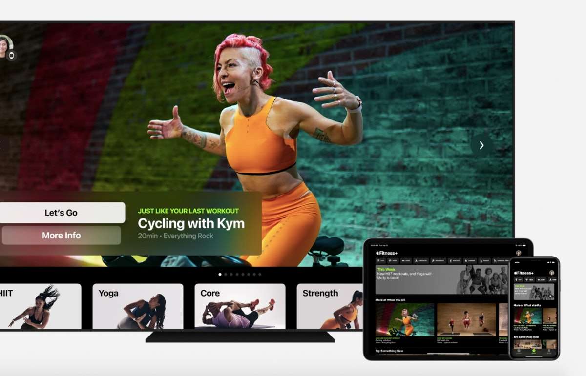 A screenshot of Fitness+, Apple's new virtual streaming workout service for Apple Watch.