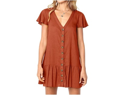 Imysty Button Down T-Shirt Dress