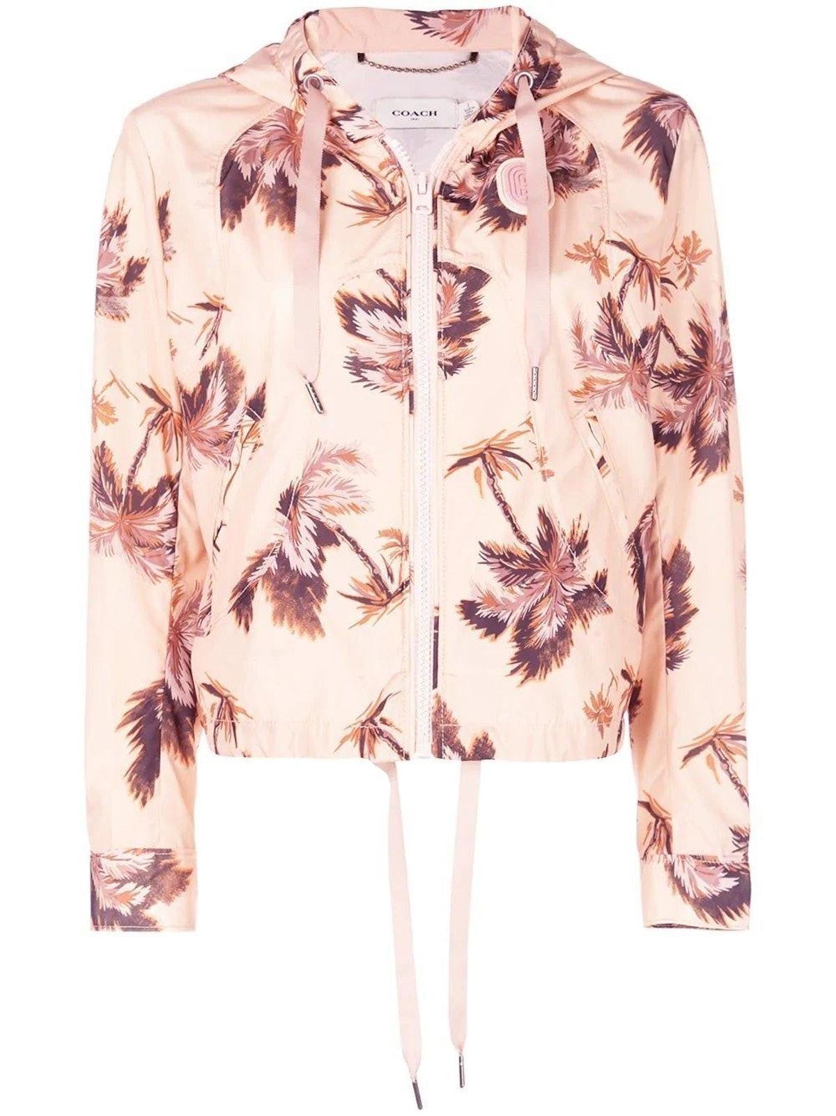 Beige Floral Print Hooded Jacket