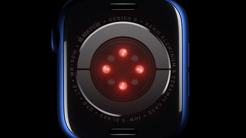 The back of an Apple Watch, projecting four points of red light. The Apple Watch Series 6 will be able to measure your blood oxygen levels.