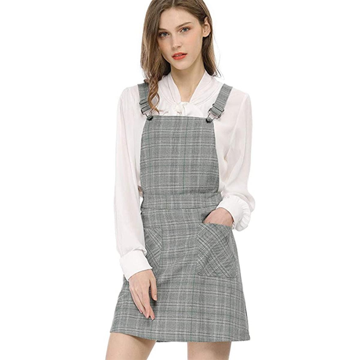 Allegra K Plaid Overall Dress