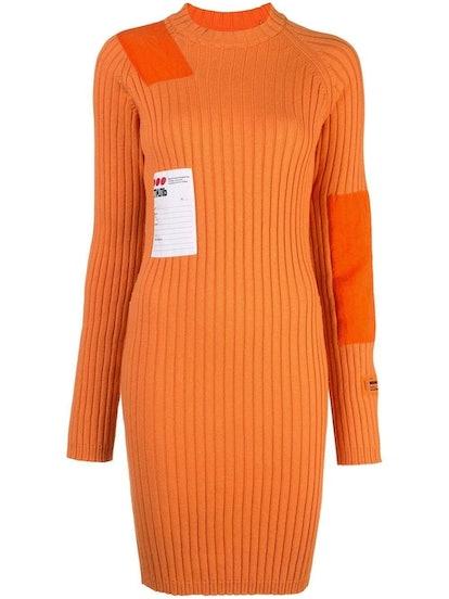 Orange Patch Ribbed Dress