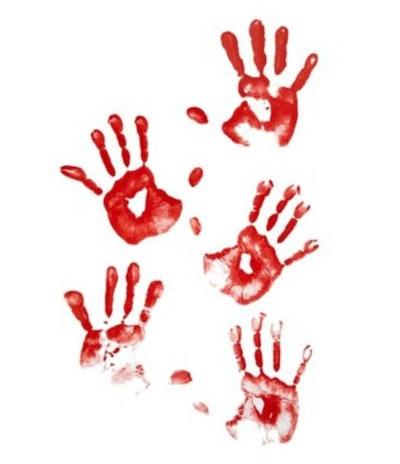 Floor Gore Bloody Human Handprints Decoration