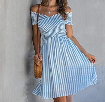 ECOWISH Womens Striped Dress