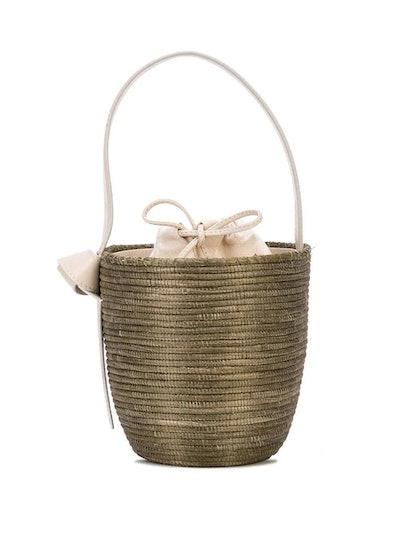 Brown Woven Bucket Bag