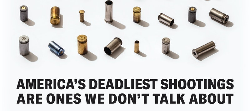 """A graphic showing bullets and caption """"America's deadliest shootings are ones we don't talk about"""" from Brady & AdCouncil's campaign End Family Fire, about reducing gun deaths by properly storing guns at home."""